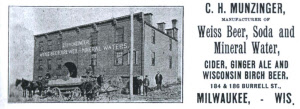 C.H. Munzinger manufacturer of Weiss beer, soda and mineral  water