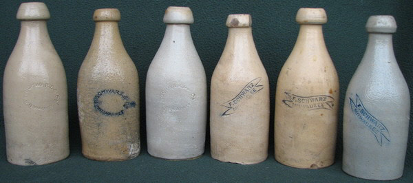 Schwarz stoneware antique Milwaukee clay beer bottles