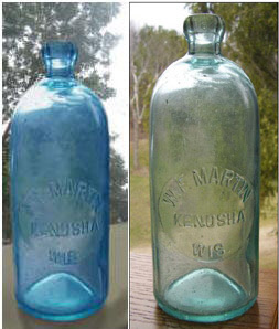 Fake Quart Kenosha Wisconsin Blue antique Hutchinson soda bottle